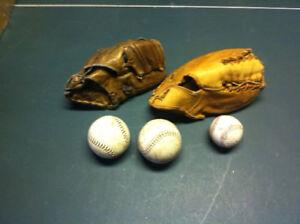Vintage Baseball Gloves and Balls