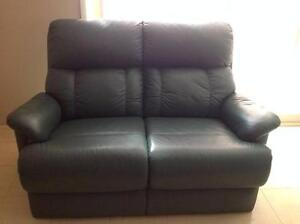 3 peice green leather  lounge Ingleburn Campbelltown Area Preview