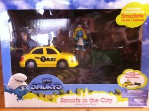 Smurfs - Brand New in the box - Smurfette, Taxi Cab & Bench.