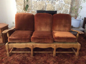 Midcentury Solid Maple Couch and Free Chair Frame