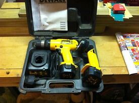 DeWalt cordless drill in carry case with two batteries and torch, 9.6 volt.