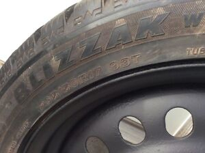 "4 Bridgestone Blizzak 205/50R 17"" Snow Tires & Black Steel Rims"