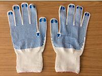 x10 Pairs Gloves Large White Super Touch Grip Blue Dot Safety / Work / Gardening