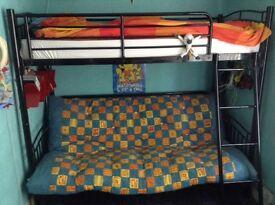Metal BunkBed Frame with Futon (no mattress) - £30 O.N.O (Bunk Bed)