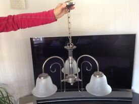 Contemporary 3 arm ceiling light - Pewter with frosted shades