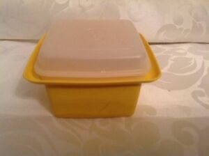 Vintage Yellow Tupperware  Butter Tub Storage Container