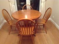 Round Solid Dining Table & 4 Chairs