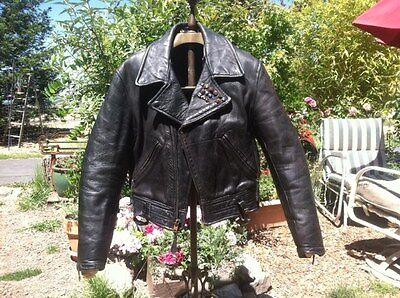 50S HORSEHIDE LEATHER MOTORCYCLE JACKET AMA PINS BIKER COAT BMW HARLEY 44 CONMAR