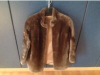 Vintage real sheared beaver brown fur jacket in excellent condition