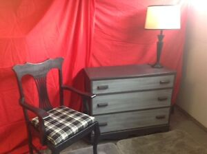 Dresser, Chair and lamp