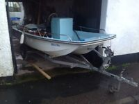 13' Dell Quay Dory on Snipe Road Trailer with 30 Hp Outboard Mariner Fully Serviced