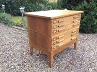 Oak plan map chest architects artists drawers mid century haberdashery ABBESS