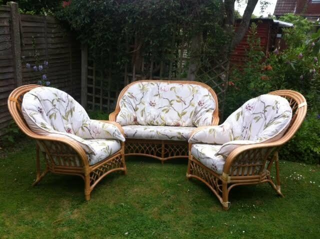 Cane conservatory set; 2 seater sofa plus 2 chairs. Good conditionin Horsham, West SussexGumtree - Attractive conservatory furniture set made of cane Lightweight and very comfortable. Recently recovered cushions. In good condition