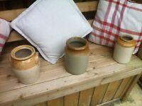 3 old salt-glazed earthenware pots