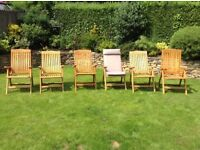 For Sale: 6 x Reclining Wooden Garden Chairs £150