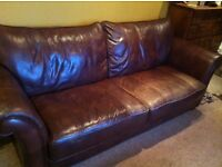 Reduced! Beautiful Brown Leather Sofa