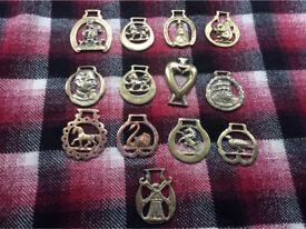 13 vintage horse brasses.