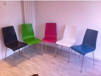 Coloured modern dining chairs from John Lewis - price is for the whole lot.