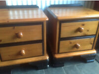 Pine (pair) bedside units, hand painted with black gloss, 2 drawers, well built units.