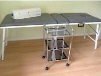 Professional Massage couch, therapy trolley and couch roll dispener