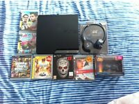 Playstation 3 Slim 120Gb console, games, controller, headset