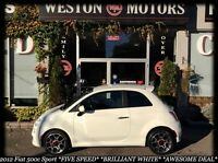 2012 Fiat 500 Sport* BRILLIANT WHITE* FIVE SPEED*FINANCE HERE!