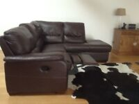 Dark Brown leather corner sofa with end recliner. L230cmx210cm H90cm divides for easy transport.