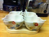 Vintage style condiment bowls & tray set!
