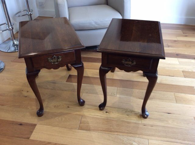 Pair Marks And Spencer American Cherry Wood Side Tables