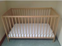 Wooden Cot with Mattress in Perfect Condition