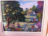 3 tableaux michel dion peinture acrylique sur toile originale