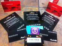 FREE Gift Cards! Winners, I-tunes, The Keg.
