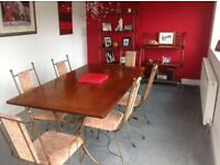 Dining table with 6 chairs and 2 display units
