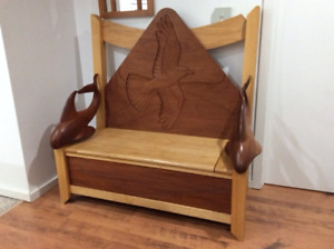 Unique hand-carved Orca bench