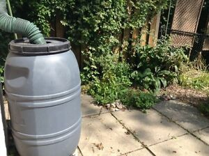 220 Litre Rain Barrel, Plastic, Grey