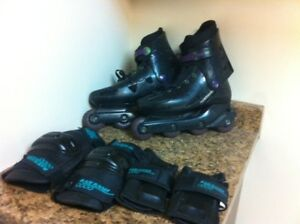 inline skates mens & ladies, wrist and knee guard set