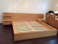 queen sized double MALM bed with bedside draws