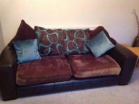 Brown and teal Sofa