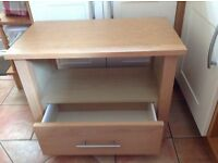 SOLID LIGHT OAK TV CABINET WITH DRAWER UNDER AND SPACE FOR SKY/DVD BOXES etc.