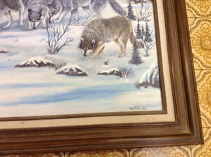 Signed W Miller oil painting wolves framed nice only 55 dollars Kitchener / Waterloo Kitchener Area image 2