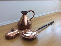3 piece copper antiques : Georgian solid copper jug, copper bed warming pan, copper pan bed warmer
