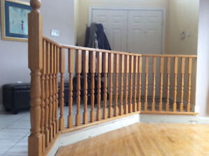 Oak Stair Railing, Posts, and Balusters