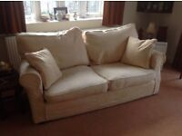 Two Seater Sofa and matching Single Chair - Cream Fabric Machine washable covers, fire retardant.
