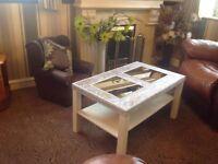 P&P Large Modern Romany Bling White Silver Diamond Effect Crushed Velvet Trim Mirror Coffee Table