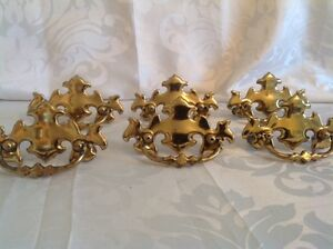 6 Antique Style Brass Colored Chippendale Drawer Pulls