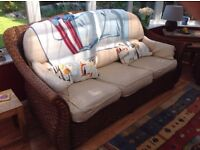 Conservatory rattan Wicker 3 seat sofa and matching chair (ideally indoor)