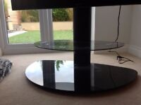 "Modern black steel & glass TV stand to suit up to 55"" TV"