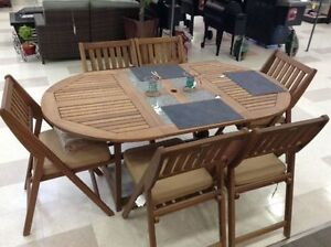 7 Piece Folding Eucalyptus Dining Set