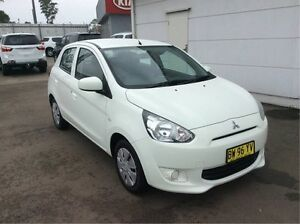 2013 Mitsubishi Mirage LA MY14 ES White 1 Speed Constant Variable Hatchback Cardiff Lake Macquarie Area Preview