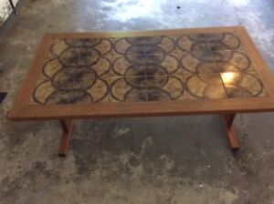 Teak Coffee Table with Tile Inlay